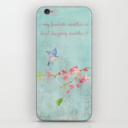 My favorite weather - Romantic Birds Cherryblossoms and Spring Typography on aqua iPhone Skin