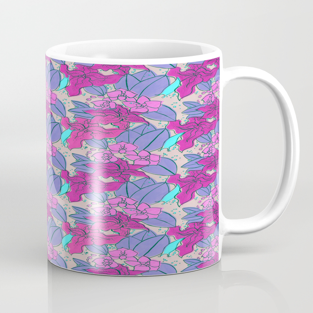 Pink Lilies And Orchids Tea Cup by Michelleleon MUG8242129