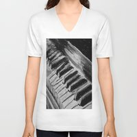 piano V-neck T-shirts featuring Piano by Renny Hendra