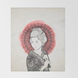 Japanese flag and Geisha Throw Blanket