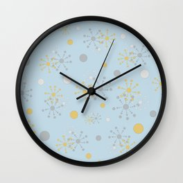 Grey Yellow Geometric Circles Blue Bkgrd Wall Clock