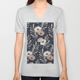 Anemones & Olives blue Unisex V-Neck