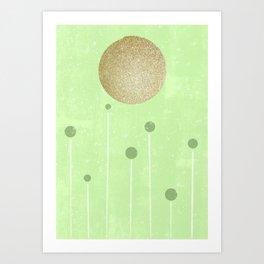 Green and gold moon Art Print