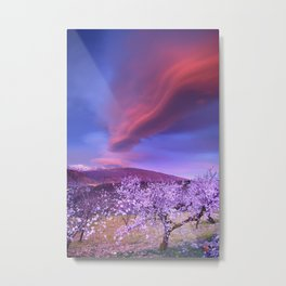 Lenticular clouds over Sierra Nevada and almonds Metal Print