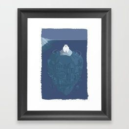 Polar bear on ice berg Framed Art Print