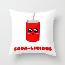You're Soda licious Funny Soda Pun Throw Pillow