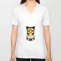 minions V-neck T-shirts featuring X-MINION by bimorecreative