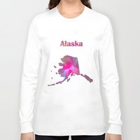 alaska Long Sleeve T-shirts featuring Alaska Map by Roger Wedegis