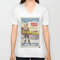 skiing V-neck T-shirts featuring SKIING by Kathead Tarot/David Rivera