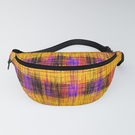plaid pattern abstract texture in orange yellow pink purple Fanny Pack