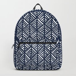 Abstract Leaf Pattern in Blue Backpack