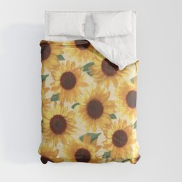 Happy Yellow Sunflowers Comforters