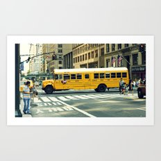 New York school bus Art Print