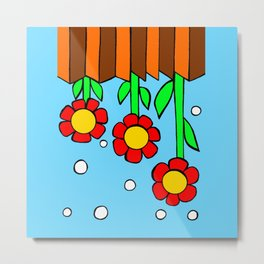 Inchie Clip - Hanging Flowers Blue Metal Print