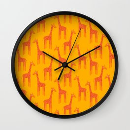Giraffes-Orange Wall Clock
