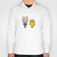 finn and jake Hoodies featuring #48 Jake and Finn by Brownjames Prints