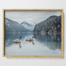 Couple of swans, Alpsee lake Serving Tray