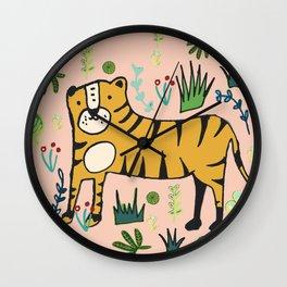 Jungle Tiger Pink Wall Clock