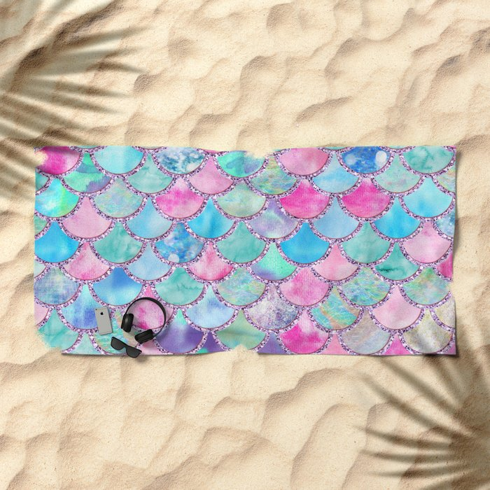 Colorful Pink and Blue Watercolor Trendy Glitter Mermaid Scales Beach Towel