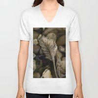 leaf V-neck T-shirts featuring Leaf by LoRo  Art & Pictures