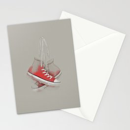 red sneakers Stationery Cards