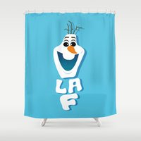 olaf Shower Curtains featuring OLAF by Matteo Gaggia Bomber-art