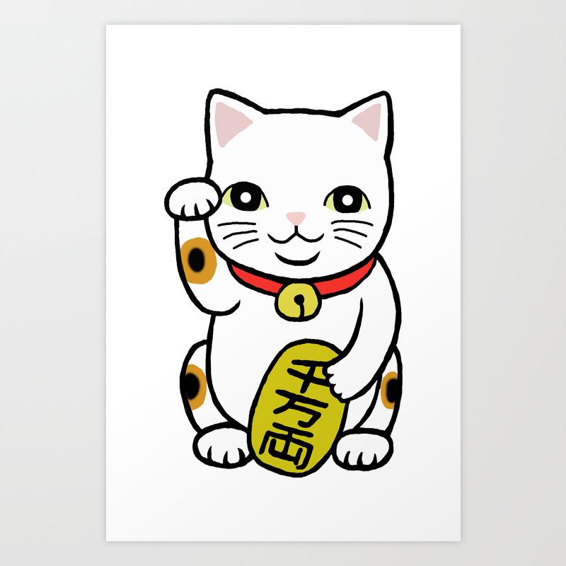 Good Luck Cat Japanese Maneki Neko Retro Classic Trico Color Cat Art Print By Mikaart Society6