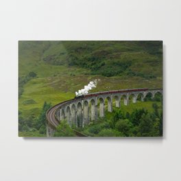 Jacobite Steam Train on the Glenfinann Viaduct Metal Print