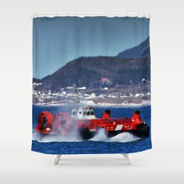 Hovercraft Racing to Town Shower Curtain