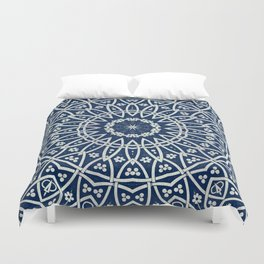 Mandala Bohemia Mosaic Navy Grey Duvet Cover