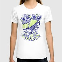 lime T-shirts featuring Owls – Navy & Lime by Cat Coquillette