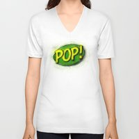 pop art V-neck T-shirts featuring Pop! by KitschyPopShop