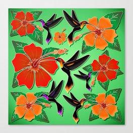 Hummingbird and Hibiscus Batik Pattern Canvas Print