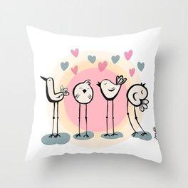 Love Birds singing Throw Pillow