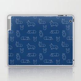Corgi Pattern on Navy Background Laptop & iPad Skin