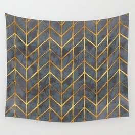 Gold Foil Herringbone on Dark Ivy Watercolor Pattern Wall Tapestry