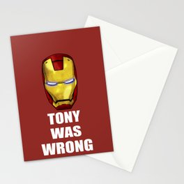 Tony Was Wrong (Iron Man Movie Version) Stationery Cards
