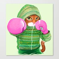 ashton irwin Canvas Prints featuring BOXING CAT 4 by Tummeow