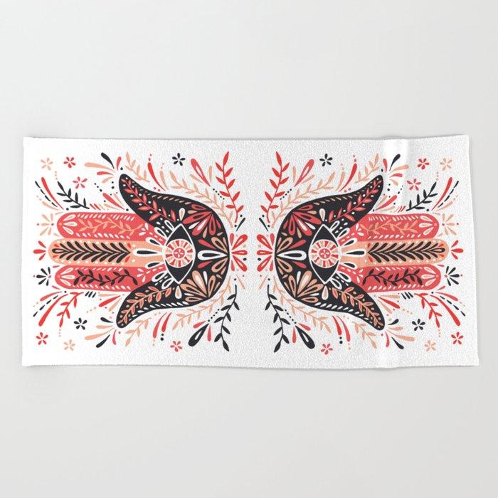 Hamsa Hand – Red & Black Palette Beach Towel
