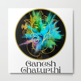 Ganesh Chaturthi Festival of Color Metal Print