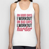 workout Tank Tops featuring Workout Harder Gym Quote by EnvyArt