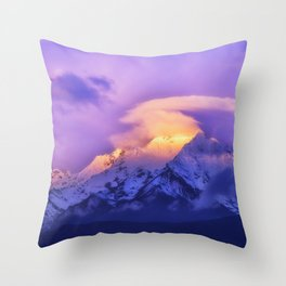 Meili Snow Mountain Shangri-la China Sunrise Throw Pillow