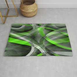 Eighties Vibes Lime and Grey Layered Curve Pattern Rug