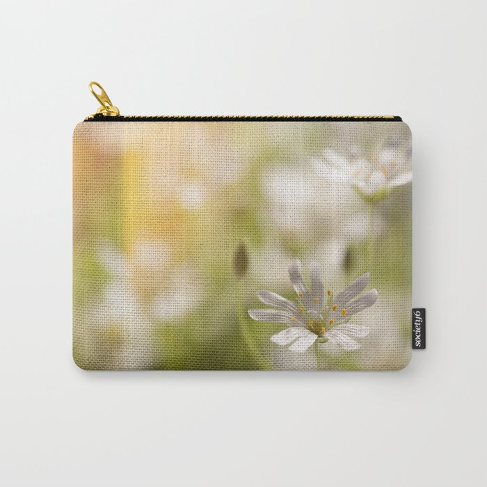 White tender Spring Flowers and blossoms on #Society6 Carry-All Pouch
