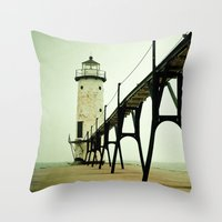 landscape Throw Pillows featuring Manistee Light by Olivia Joy StClaire