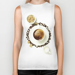 Top view of a cup of coffee, isolate on white Biker Tank