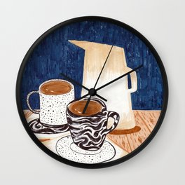 Coffee for Two Drawing by Amanda Laurel Atkins Wall Clock