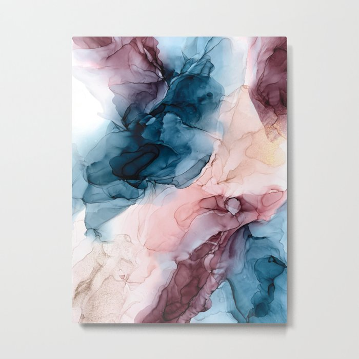 Pastel Plum, Deep Blue, Blush and Gold Abstract Painting Metal Print