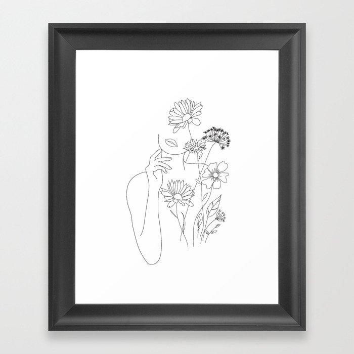Minimal Line Art Woman with Flowers III Gerahmter Kunstdruck
