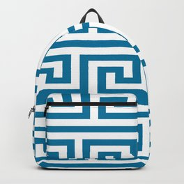 Mosaic Blue Greek Key Pattern Backpack